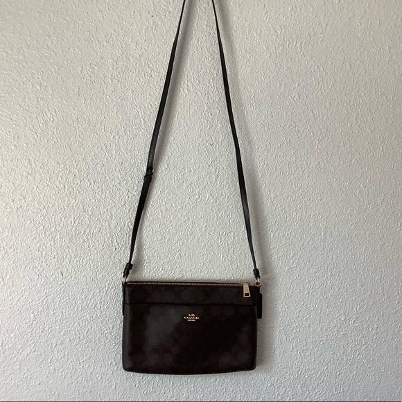 Coach Handbags - Coach brown leather and black monogram bag